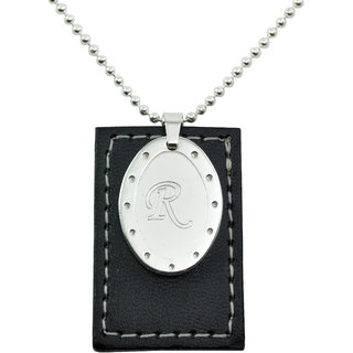 Alphaman R Alphabet Letter Surgical Stainless Steel Personalized Black Leather Dog Tag Neckpiece