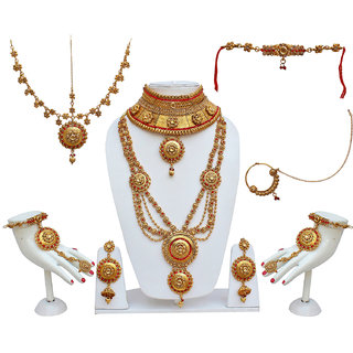 Lucky Jewellery Traditional LCT Red Color Alloy Bridal Set For Women And Girls