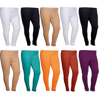 IndiWeaves Womens Premium Cotton Solid Churidar Leggings -MultiColor-Pack Of 10-FREE SIZE