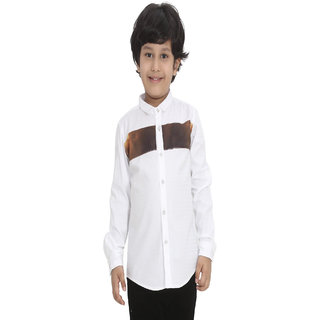 Ninety Nine Boys Full Sleeve Dobby Shirt with Contrast Cut-N-Sew Detailing on Front.