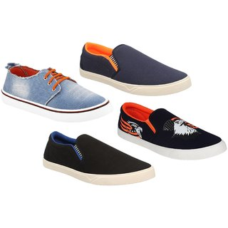 Buy Chevit Men S Combo Pack Of 4 Smart Casual Shoes And Sneakers