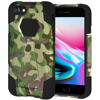 Amzer Dual Layer Designer Hybrid KickStand Case - Camouflage Green For IPhone 8