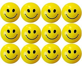 Yellow Smiley Squeeze Ball Pack Of 12