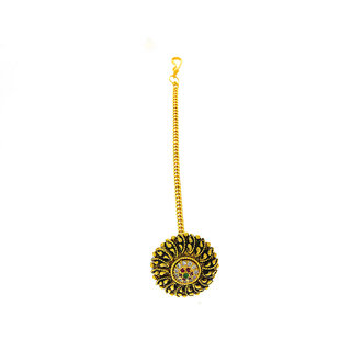Anuradha Art Gold Finish Classy Round Shape Wonderful Borla Style Designer Traditional Mang Tikka For Women/Girls