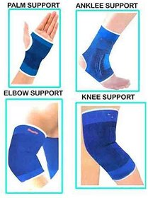 MOCOMO Imported Combo Ankle + Knee + Elbow + Palm Support Pairs for GYM Exercise Grip