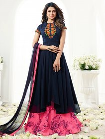 Jennifer Winget Navy Blue Color Embroidered Indo Western Suit