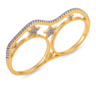Tistabene Retails Stary Two Finger American Diamond Stylish Party Wear Cocktail Ring For Women And Girls (RI-0554)