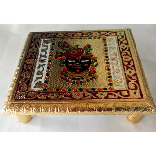 SHRINATHJI GOD Wooden Chowki Stool/Decorative Small Side Table/Bajot Table for Pooja Room 10 INCH