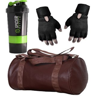 CP Bigbasket Combo Set Leather Soft Gym Bag (Brown), Cyclone Shaker, Netted Gym  Fitness Gloves (Black)