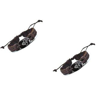 Aeoss Customized Bracelet Lovely Bee Leather Bracelet Handmade Bracelets for Men girls Women Set of 2