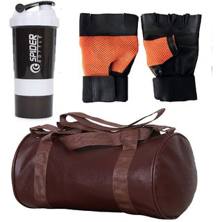 CP Bigbasket Combo Set Leather Soft Gym Bag (Brown), Cyclone Shaker, Netted Gym  Fitness Gloves (Orange)