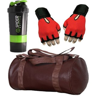 CP Bigbasket Combo Set Leather Soft Gym Bag (Brown), Cyclone Shaker, Netted Gym  Fitness Gloves (Red)