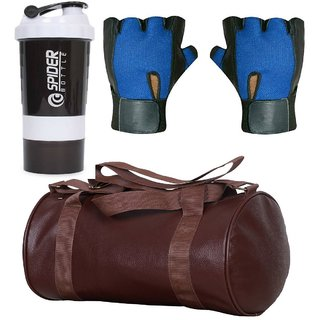 CP Bigbasket Combo Set Leather Soft Gym Bag (Brown), Cyclone Shaker, Netted Gym  Fitness Gloves (Blue)