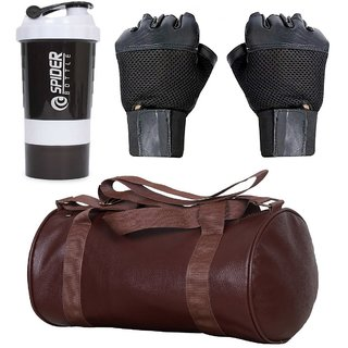 CP Bigbasket Combo Set Leather Soft Gym Bag (Brown), Cyclone Shaker , Netted Gym  Fitness Gloves (Black)