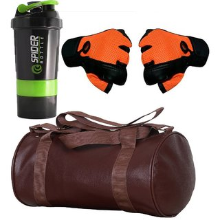 CP Bigbasket Combo Set Leather Soft Gym Bag (Brown), Cyclone Shaker, Netted Gym  Fitness Gloves (Orange)..
