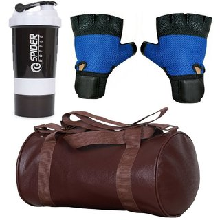 CP Bigbasket Combo Set Leather Soft Gym Bag (Brown), Cyclone Shaker, Netted Gym  Fitness Gloves (Blue)..