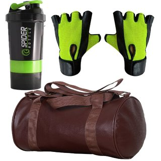 CP Bigbasket Combo Set Leather Soft Gym Bag (Brown), Cyclone Shaker, Netted Gym  Fitness Gloves (Green).....