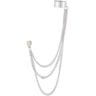 JewelMaze Silver Plated Austrian Stone Ear Cuff