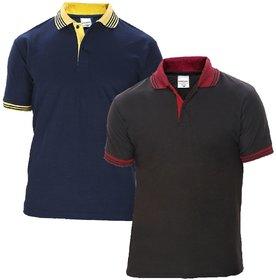 Baremoda Men's Polo T Shirt Black Navy Combo Pack of 2