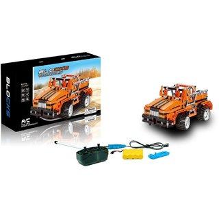 DIY 492 Pcs Orange Alert Bee 3D Construction Block Set Educational Game  Electronic Remote Control Car Toys