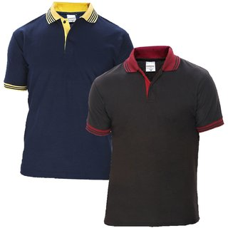 Baremoda Men Polo Collar T Shirt Black Navy Combo Pack of 2