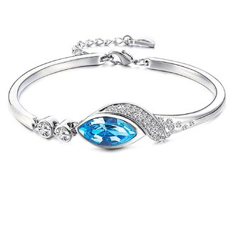 Marquise Beauteous Rhodium Plated Sapphire Blue Crystal Bracelet for Women by Parisha Jewells BA00001