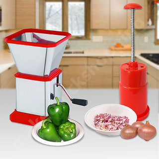 Combo Special Offer Stainless Steel Vegetable Chilly Cutter and Onion Chopper