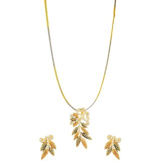 Tistabene Retails Floral Antique Gold Plated Designer Stylish Party Wear Pendant Set For Girls And Women (PS-0385)