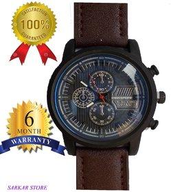 Sports Fashion Leather Strap chronograph Wrist Watch