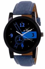 Fnb Denim Blue Leather Strap WristWatch  For Men