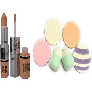 ADS Ads Foundation  Concealer Double act  Beauty Blender Powder concealer Foundation Puff Sponge (6 Pieces)