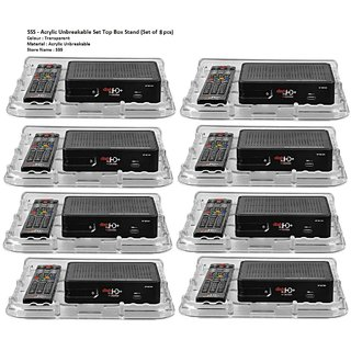 SSS - Set Top Box/Telephone/Wifi Stand Set of 8 pcs (Material-Acrylic Unbreakable Mini)