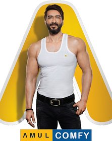 (PACK OF 5) Amul Comfy Men's Cotton Vests White - RN- EXCLUSIVE BRANDED PRODUCT