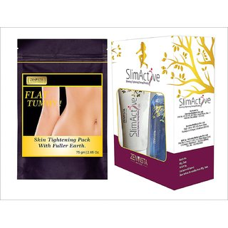 Flat Tummy Skin Tightening Pack with SlimActives Shape Up Combo Oil cream Gel Anti Cellulite for Slimming
