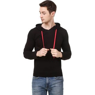 Amiable Solid Men Round Neck Black T-Shirt