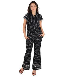 8231d7ed5b31 Buy Ira Designer Black Crepe Printed Jumpsuit for Women Online - Get 38% Off