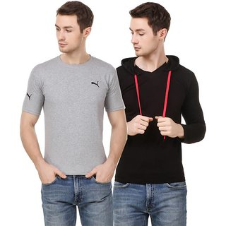Amiable Solid Men Round Neck Black/Grey T-Shirt