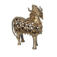 Hand Made Brass Metal Cow Sculpture In Antique Finish By Aakrati