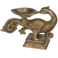 Decorative & Designer Brass Metal Peacock Shape Candle Stand, Oil Lamp By Aakrati