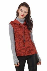 Texco Rust Sleeveless Tye-Dye Winter Sweatshirt