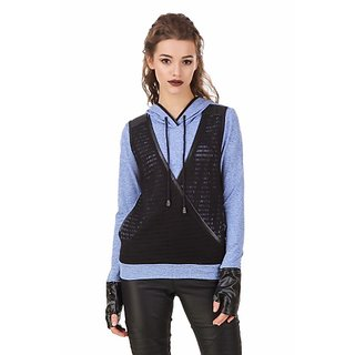 Texco Milange Blue Lace Crossover Hooded With Detachble Gloves Biker Sweatshirt