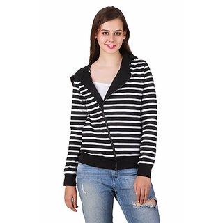 Texco Hooded Full Sleeve Black Stripe White Winter Jacket