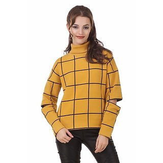 Texco Women Mustard Check Turtle Neck Full Sleeve With Cut Out Zipperer Detailing Winter Sweat Shirt