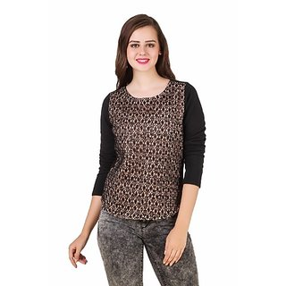 Texco Lace Embelidshed Beige & Black Party Sweatshirt