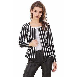 Texco Black & White Stripe Winter Peplum Black Jacket