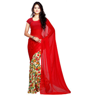 80ef3d4d6e2 Buy Ligalz Red Printed Chiffon Saree Online   ₹899 from ShopClues