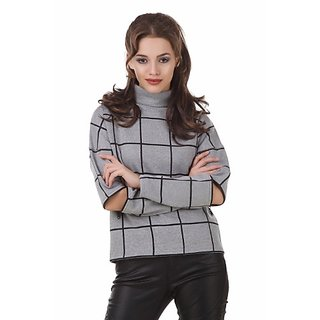 Texco Plaid Grey Check Turtle Neck Full Sleeve With Cut Out Zipperer Detailing Winter Sweat Shirt