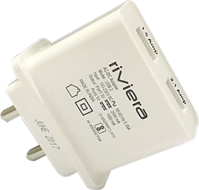 Riviera 2 Amp Adapter 2 USB Port For All Smartphones Very Fast Charge