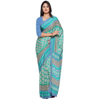 Ligalz Turquoise And Beige Crepe Printed Saree