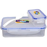 Fair Food Air Tight  Leak Proof Lunch Box 600 +125 with Fork and Spoon